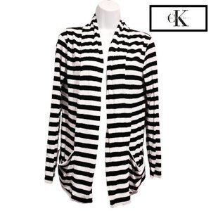 Calvin Klein Lightweight Striped Open Cardigan
